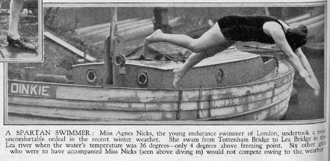 Nicks dives in on Winter Thames Swim - The Sphere 12/1/1929