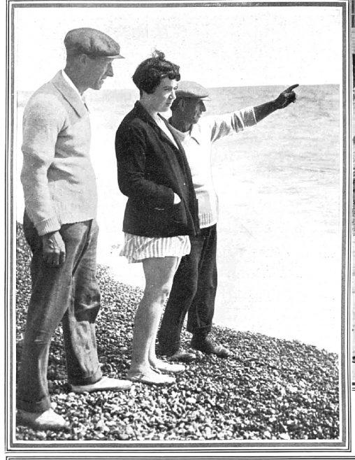 Miss Agnes Nicks surveys the Channel - The Sphere 30/8/1930