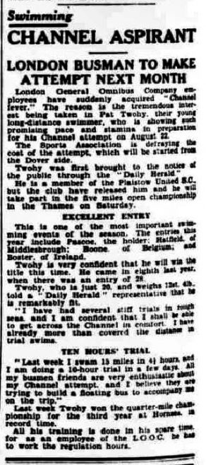 Channel Aspirant Pat Twohy - Daily Herald 24/7/1930