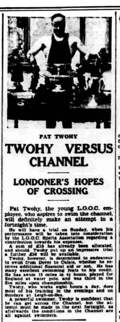 Twohy versus Channel - Daily Herald 12/8/1930