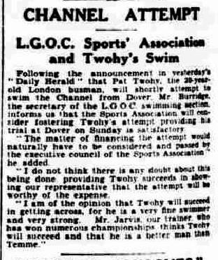 LGOC sponsors Twohy - Daily Herald 14/8/1930