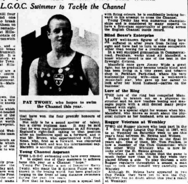 Young Channel Aspirant - Daily Herald 24/4/1930