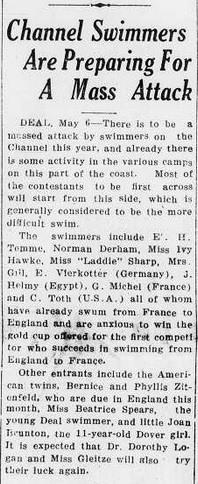 Massed attack by swimmers on the Channel - Kingston Gleaner, Jamaica, May 29, 1929