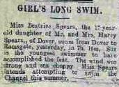 Beatrice Spears Long Swim - The Devon and Exeter Gazette 17/8/1928