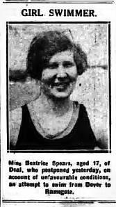 Channel Aspirant, Beatrice Spears - Birmingham Gazette 2/5/1928