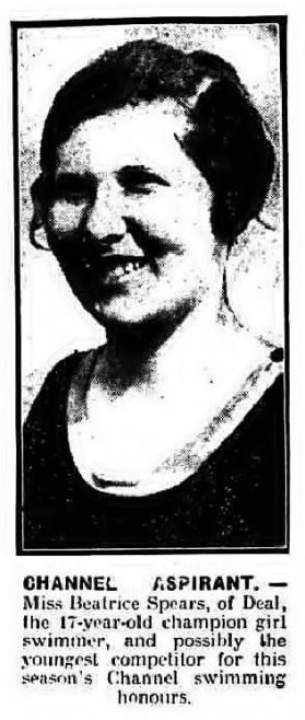 Channel Aspirant Miss Beatrice Spears -Nottingham Journal 4/5/1928