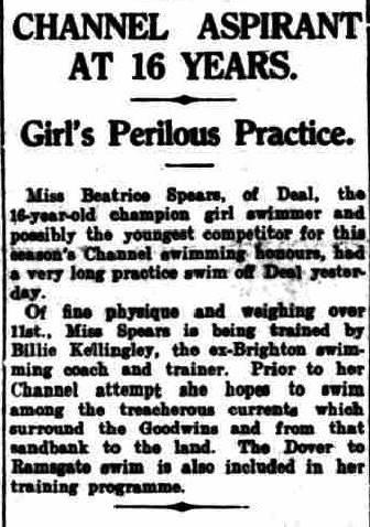 Spears Postpones Dover-Ramsgate swim - Birmingham Gazette 2/8/1928