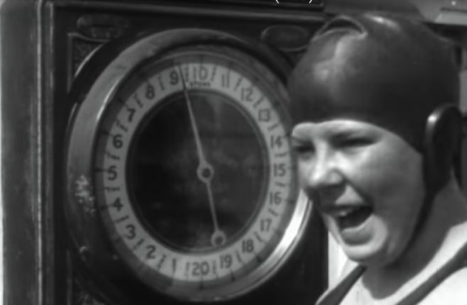 Joan Brunton on weighing scales, Dover Beach 1928
