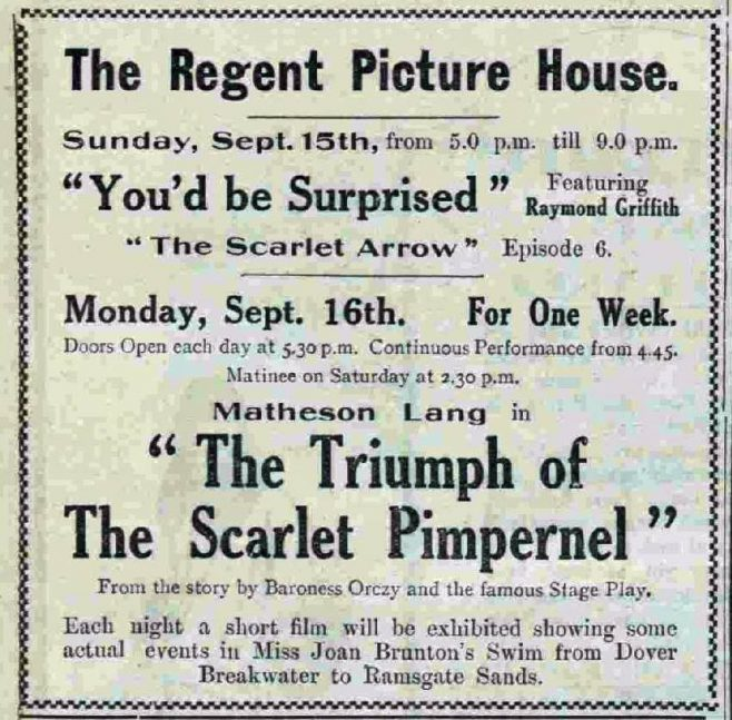Advert for Regent promoting Joan Brunton - Dover Express 13/9/1929