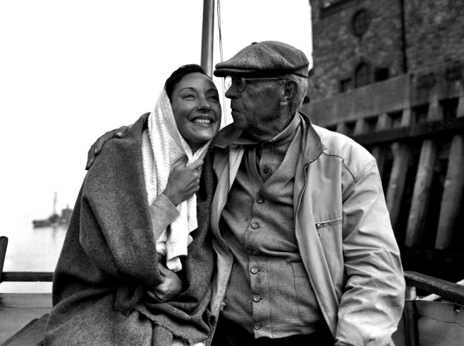 Chadwick is congratulated by her father at Dover on Sept. 11 1951, after their return by launch from Sangatte